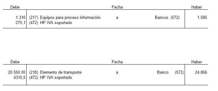 Ejercicio adquisición inmovilizado material con gastos directos