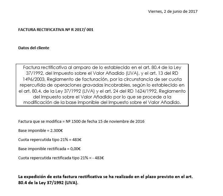 Caso práctico de factura rectificativa por devolución de base imponible