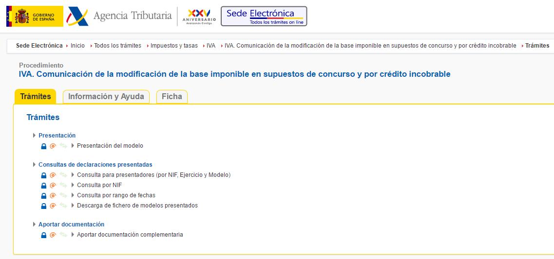 Pagina de la Agencia Tributaria para comunicar la modificación de la base imponible por créditos incobrables