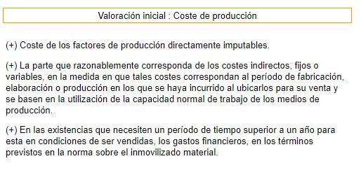 Existencias coste de producción