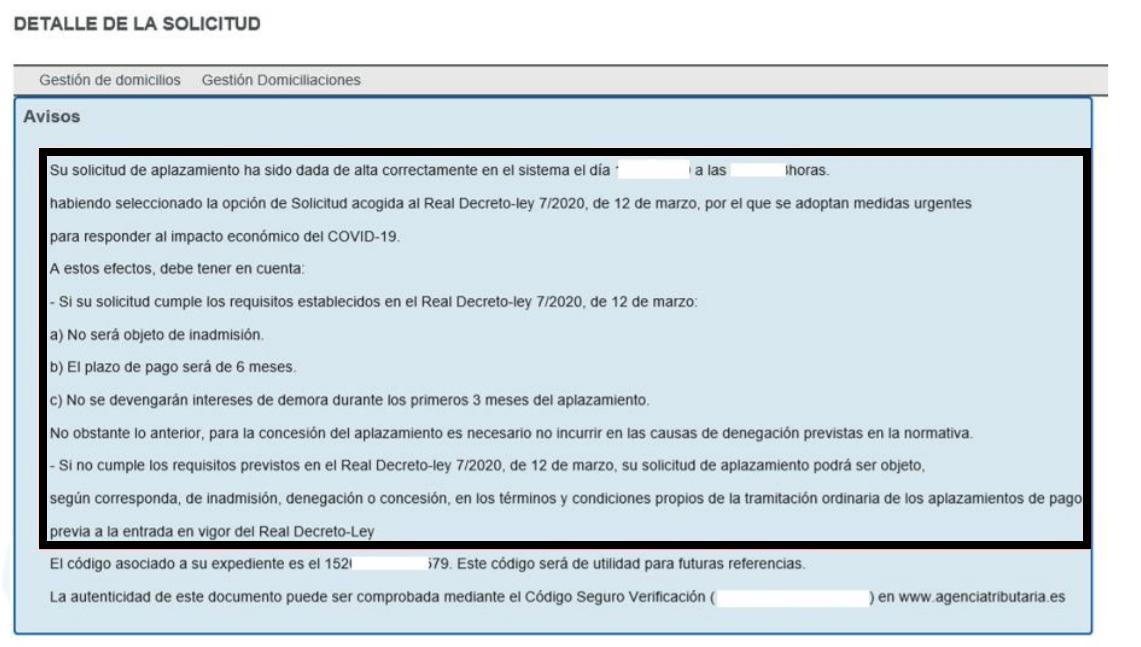 Solicitud aplazamiento deuda COVID-19
